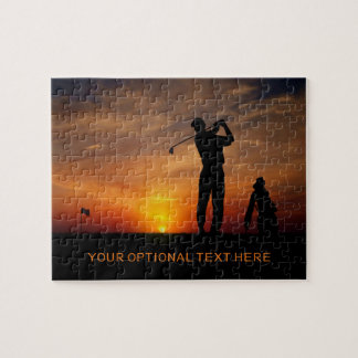 Golfer Sunset custom text puzzle