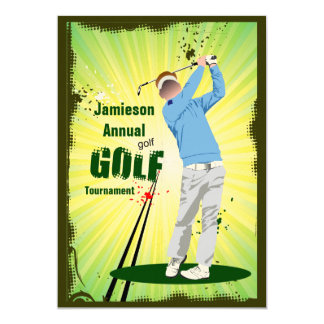 Golfer Swing Golf Club Golf Tournament Invitation