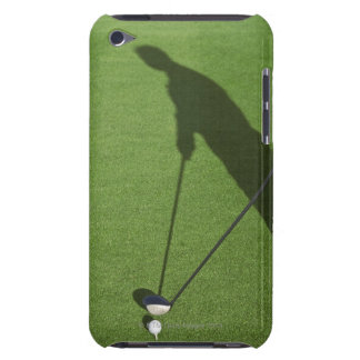 Golfer with driver prepares for swing iPod Case-Mate case
