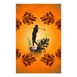 Golfer with floral elments customized stationery