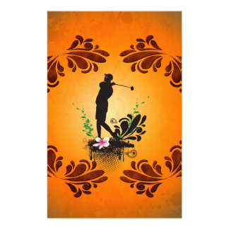Golfer with floral elments personalized stationery