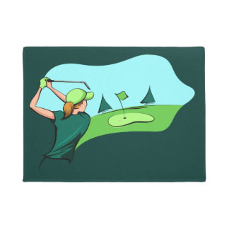 Golfer Woman Going for the Green Doormat