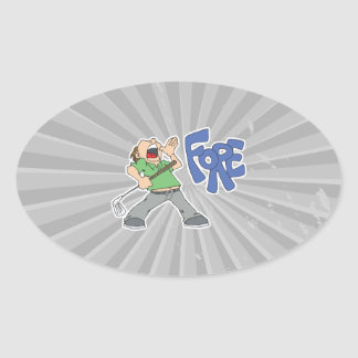 golfer yelling FORE Oval Sticker