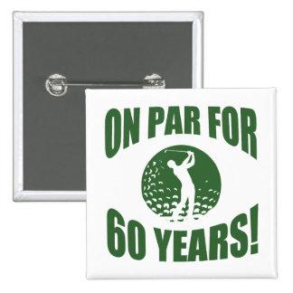 Golfer's 60th Birthday 15 Cm Square Badge
