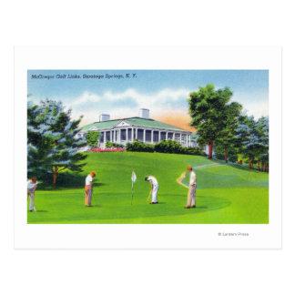 Golfers on McGregor Golf Links Scene Postcard