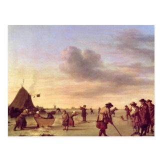 Golfers on the Ice near Haarlem, 1668 Postcard