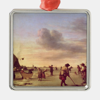 Golfers on the Ice near Haarlem, 1668 Silver-Colored Square Decoration