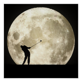 Golfing At Night Poster