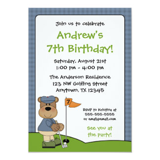 Golfing Bear Kids Birthday Party Invitations