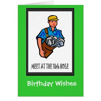 Golfing Birthday cards, Golf caddy Greeting Card