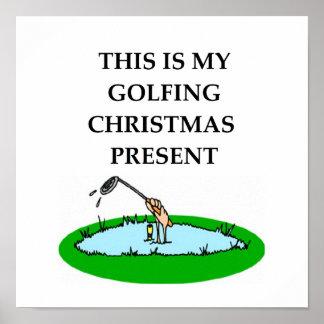 golfing christmas poster
