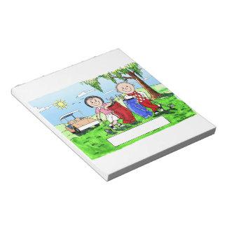 Golfing Couple - Personalized Cartoon Notepad