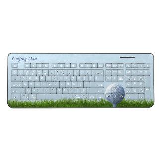 Golfing Dad Golf Ball Sky Blue Wireless Keyboard