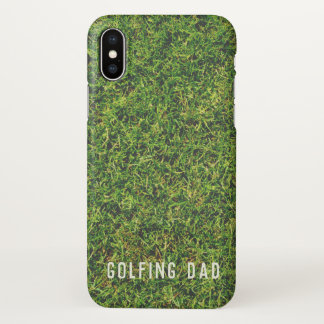 Golfing Dad Green Grass iPhone X Glossy Case