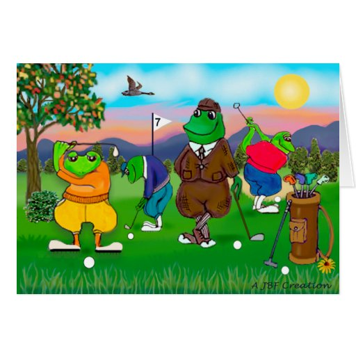 Golfing Frogs - Tournament Greeting Card