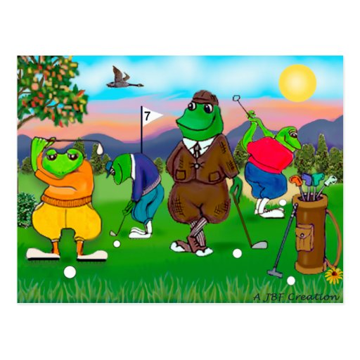 Golfing Frogs - Tournament Post Card