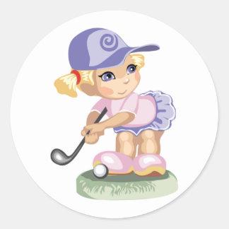 Golfing Girl Sticker Round Sticker