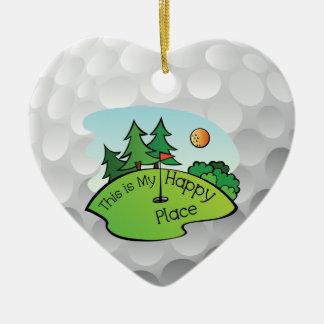 Golfing Golf Course Hole Happy Place Christmas Ornament
