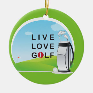 Golfing Golf Course Hole Happy Place Round Ceramic Decoration