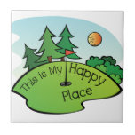 Golfing Golf Course Hole Happy Place Small Square Tile