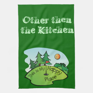 Golfing Golf Course Hole Happy Place Tea Towel