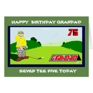 golfing grandad 75th birthday greeting card