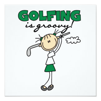 Golfing is Groovy 13 Cm X 13 Cm Square Invitation Card