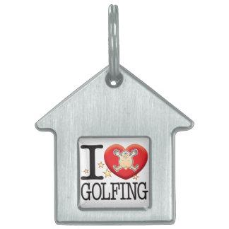 Golfing Love Man Pet ID Tags