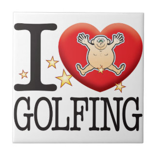 Golfing Love Man Small Square Tile