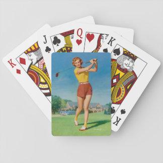 Golfing Pin Up Art Playing Cards