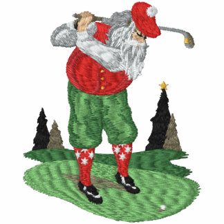 Golfing Santa Claus Embroidered Hooded Sweatshirts