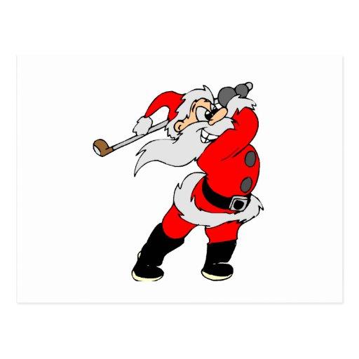 Golfing Santa Postcard
