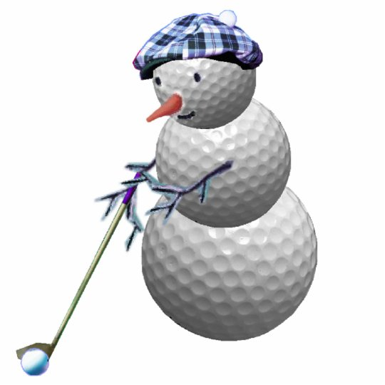 golfing snowman christmas photo sculpture decoration