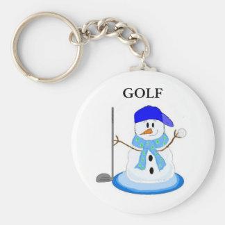 Golfing Snowman Key Ring