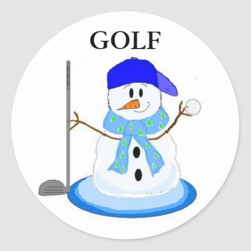 Golfing Snowman Sticker