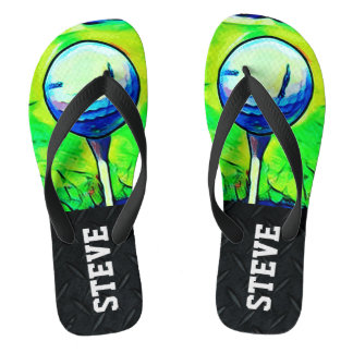 Golfing Sports Diamond Plate Name Flip Flops