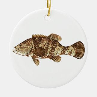 Goliath Grouper Gamefish ocean vector illustration Christmas Ornament