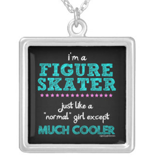 Golly Girls - I'm A Figure Skater Square Pendant Necklace