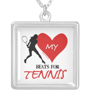 Golly Girls - My Heart Beats for Tennis Silver Plated Necklace