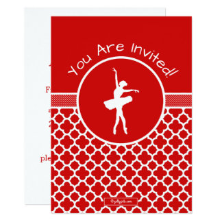 Golly Girls Red Quatrefoil and Polka-Dots Dancer Card