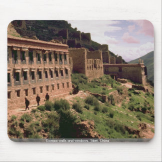 Gompa walls and windows, Tibet, China Mouse Pad