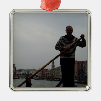 Gondalier On Grand Canal With Rialto Bridge Behind Silver-Colored Square Decoration