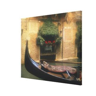 Gondola and Restaurant, Venice, Veneto, Italy Canvas Print