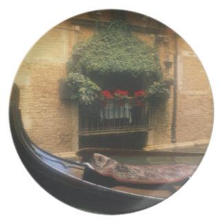 Gondola and Restaurant, Venice, Veneto, Italy Plate