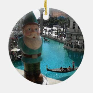 Gondola Gnome I Round Ceramic Decoration