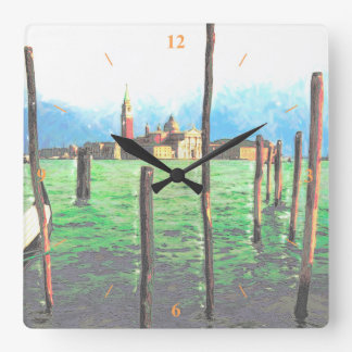 Gondola Moorings in Venice Square Wall Clock