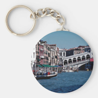 Gondola on the Grand Canal, Rialto Bridge, Venice, Key Ring
