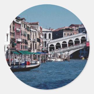 Gondola on the Grand Canal Rialto Bridge Venice Round Sticker