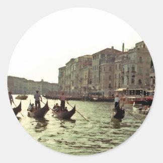 Gondola Race Venice Round Sticker