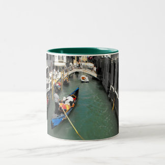Gondolas and tourists in Venice Two-Tone Mug